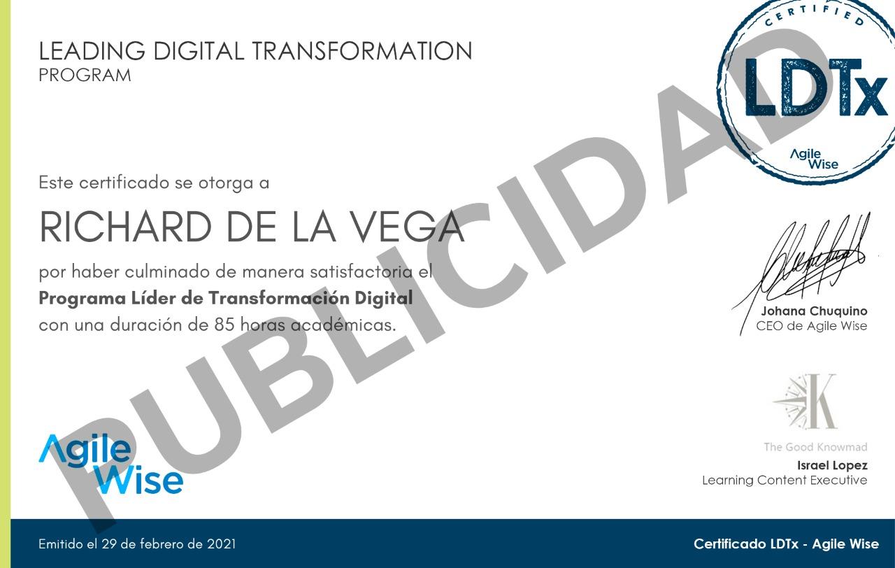 Certificado LTDX AgileWise