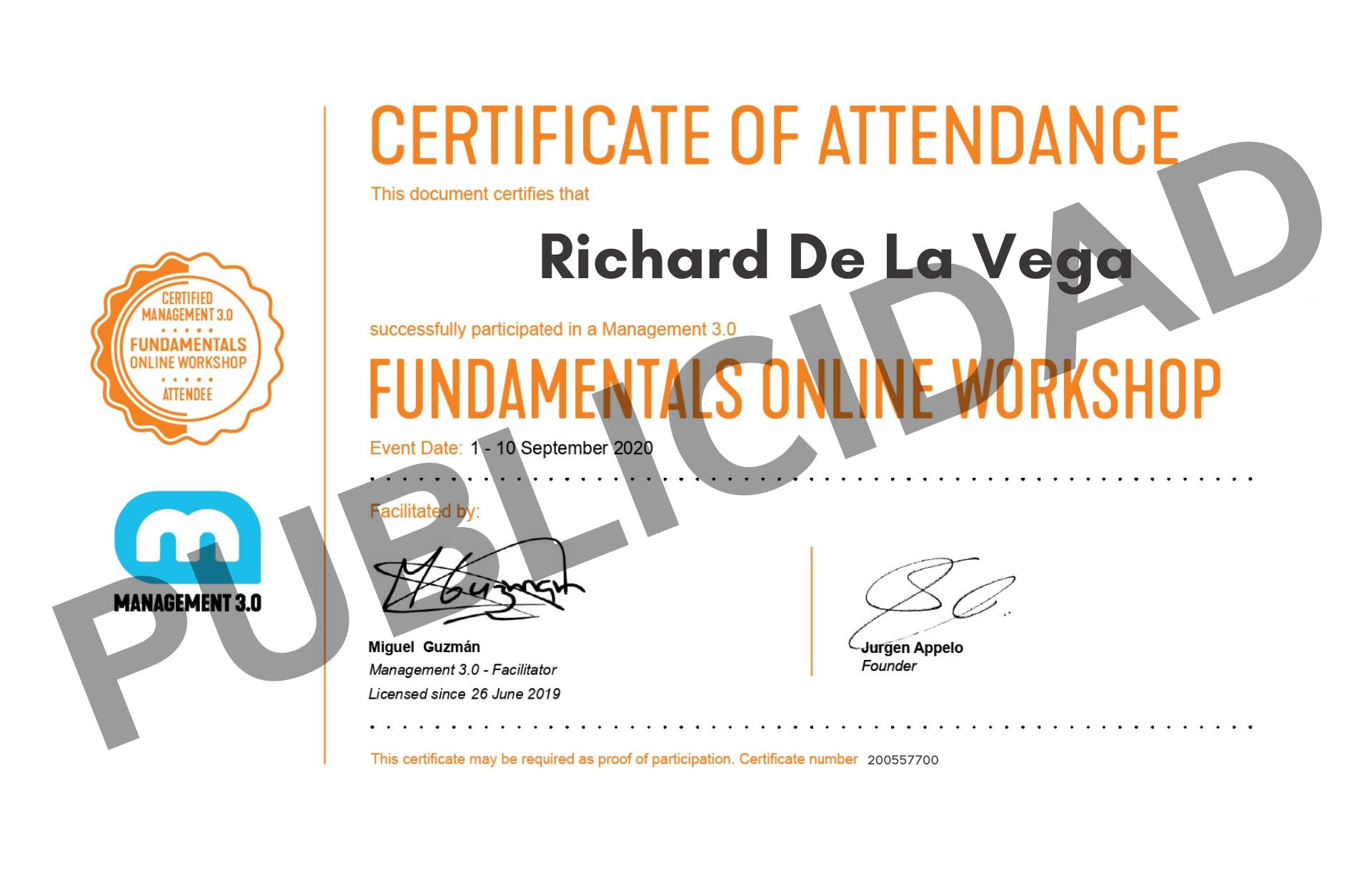 Certificado Managenemt 3.0 AgileWise
