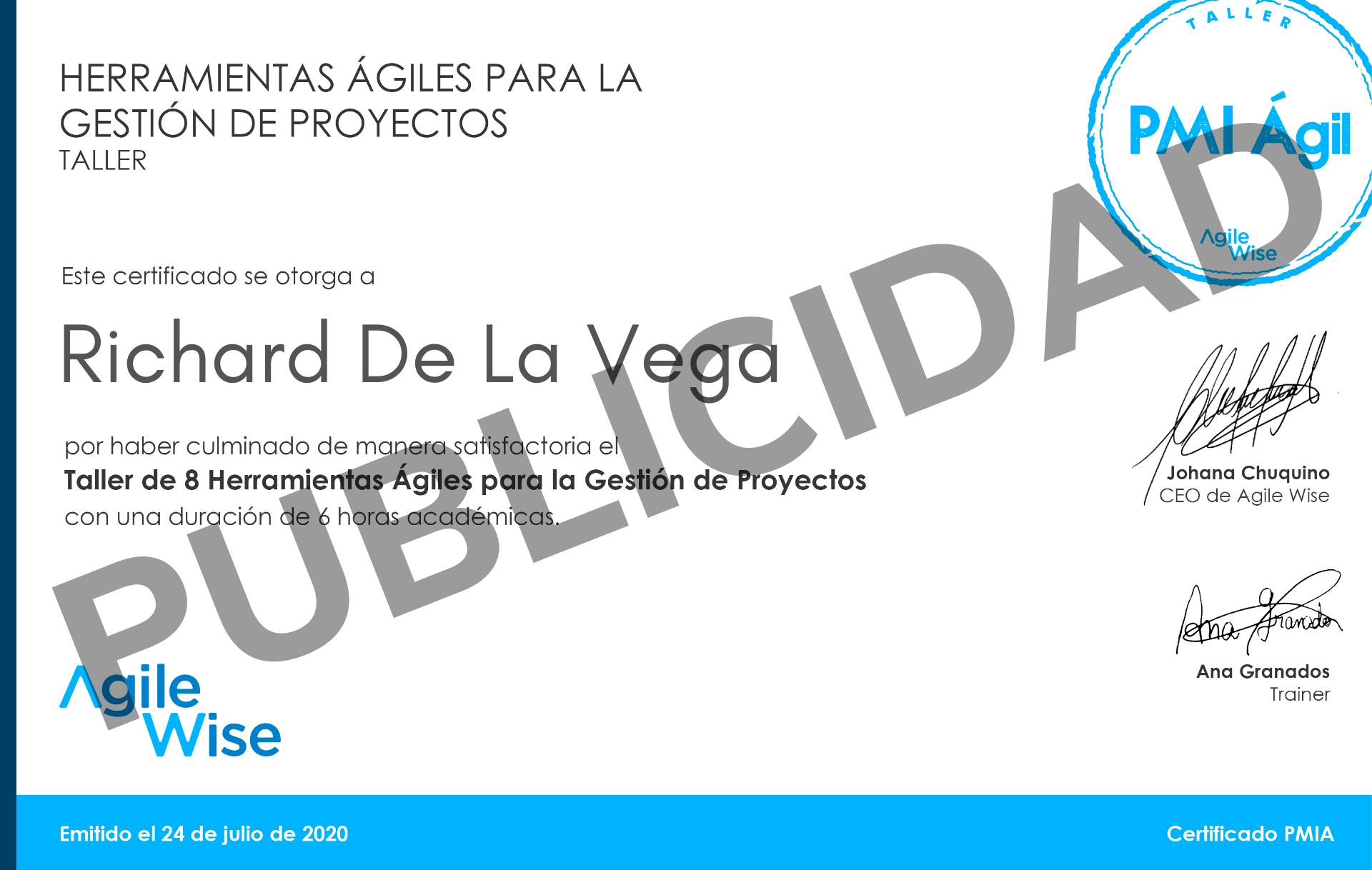 Certificado PMI Ágile AgileWise