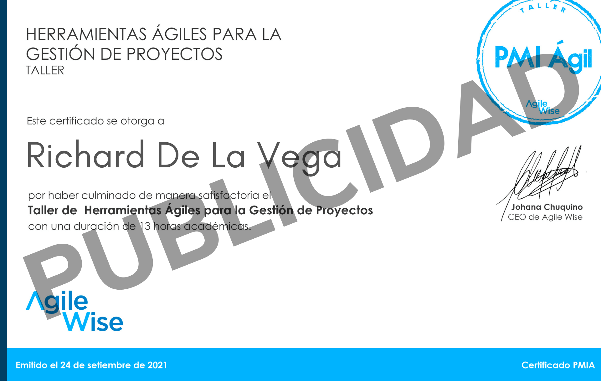 Certificado PMI AGIL Agile Wise